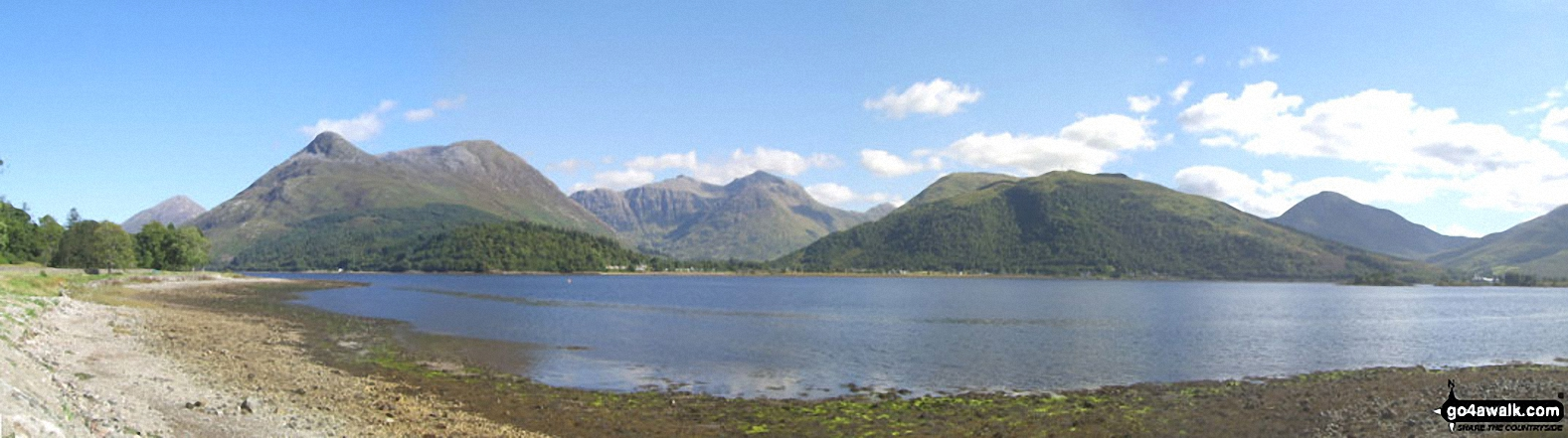 Looking across Loch Leven to The Pap of Glencoe, The Three Sisters of Glen Coe, Meall Mor and Beinn Fhionnlaidh