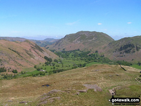 Arnison Crag (left) and Place Fell from Hartsop above How. Walk route map c235 The Deepdale Horseshoe from Patterdale photo