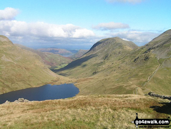 Walk c264 The Grisedale Round from Patterdale - Grisedale Tarn, St Sunday Crag and the shoulder of Fairfield from Seat Sandal