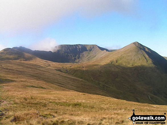 Striding Edge, Helvellyn, Swirral Edge and Catstye Cam from Birkhouse Moor