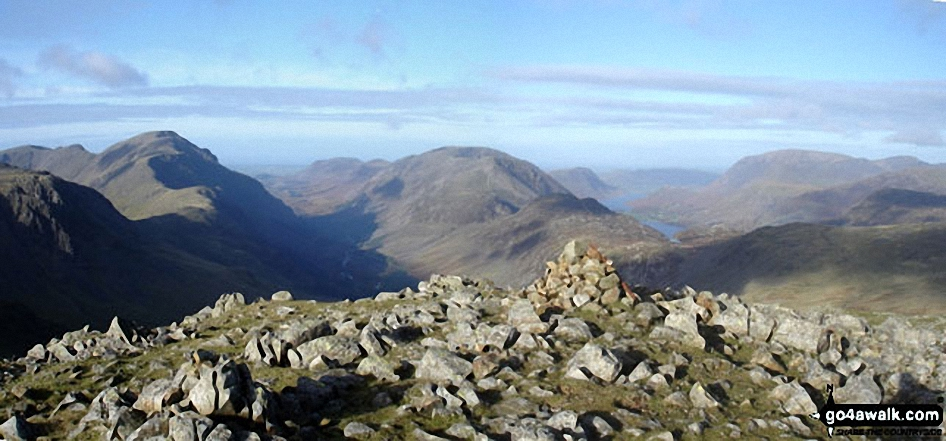 *Pillar (left), High Stile (centre), Ennerdale, Hay Stacks, Crummock Water, Buttermere and Grasmoor (right) from  Green Gable