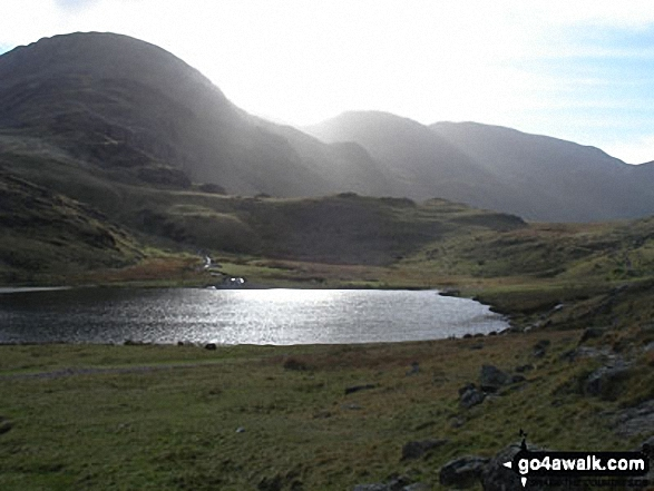 Great End and Styhead Tarn catching the light