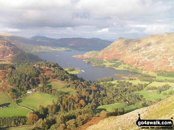 Ullswater from (just below) Birks. Walk route map c235 The Deepdale Horseshoe from Patterdale photo