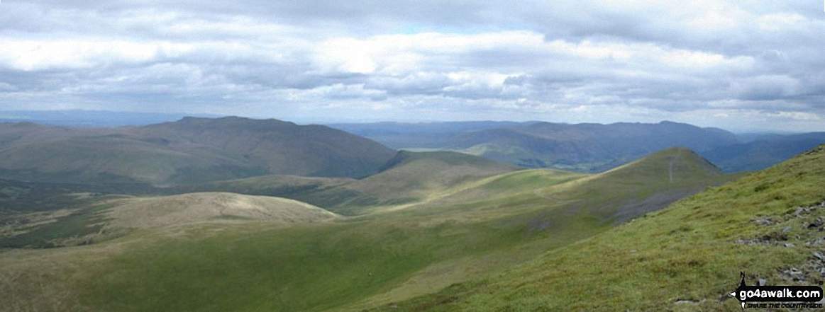 Southeastern panorama from the summit of Skiddaw with Blencathra and Blease Fell silhouetted left of centre