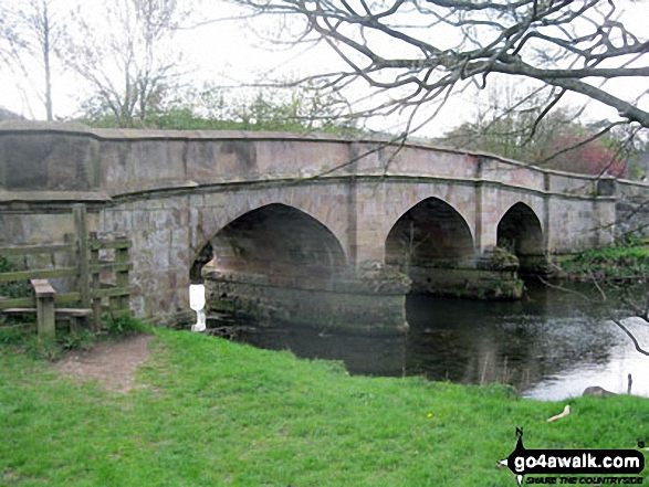 Ilam Bridge, Ilam, Dove Dale. Walk route map s109 Castern Hall, Wetton, Alstonefield and Milldale from Ilam photo