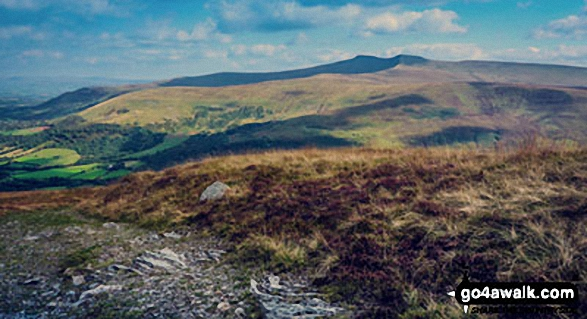 Pen y Fan (left) and Corn Du from the top of Craig Cerrig-gleisiad