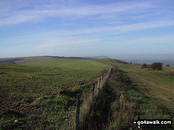West from Ditchling Beacon. Walk route map es145 Jack and Jill from Ditchling Beacon photo