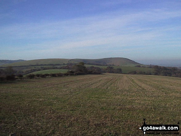 Wolstonbury Hill from Jack and Jill Windmills, Clayton. Walk route map es145 Jack and Jill from Ditchling Beacon photo