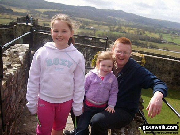 The Elvy family on top of the tower at Dinefwr Castle in Dinefwr Park, Llandeilo