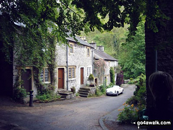 Old Mill Cottages in Ravensdale Wood just up from Cressbrook. Walk route map d113 The Monsal Trail, Water-cum-Jolly Dale and Miller's Dale from Miller's Dale Station photo