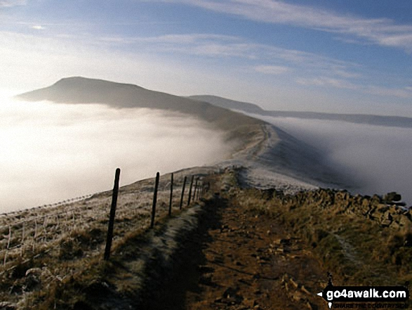 Mam Tor from Hollins Cross during a temperature inversion. Walk route map d123 Mam Tor via Cavedale from Castleton photo
