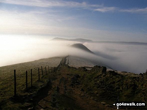 Mam Tor, and Back Tor (Hollins Cross) from Lose Hill (Ward's Piece) Tree on Back Tor (Hollins Cross) from Hollins Cross during a winter temperature inversion