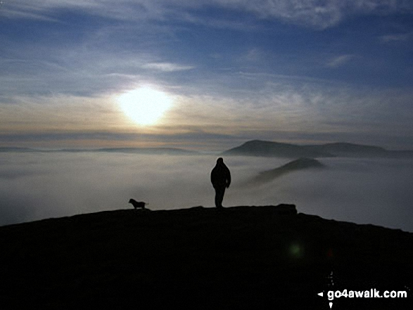 On Lose Hill (Ward's Piece) with Back Tor (Hollins Cross) and Mam Tor beyond during a winter temperature inversion
