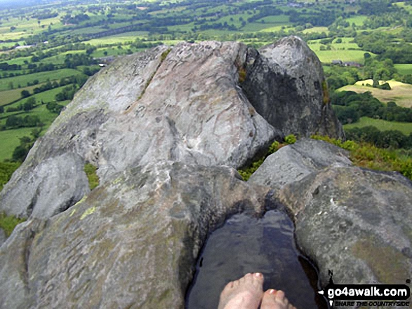 Cooling my feet in a hill top pool on the summit of The Cloud (Bosley Cloud)