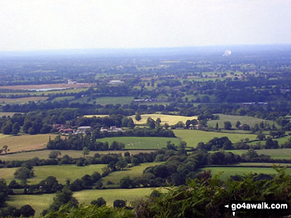 Jodrell Bank and The Cheshire Plain from the summit of The Cloud (Bosley Cloud)