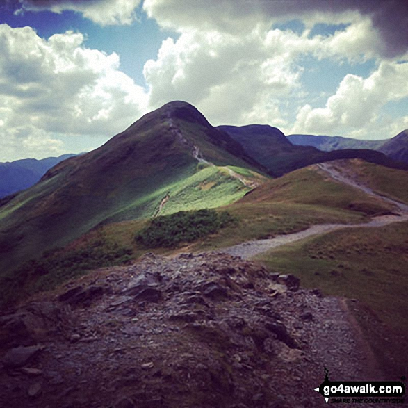 Cat Bells (Catbells). Walk route map c399 Cat Bells and Derwent Water from Keswick photo