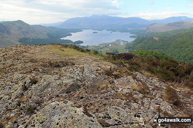 The summit of King's How with Derwent Water and Skiddaw in the distance