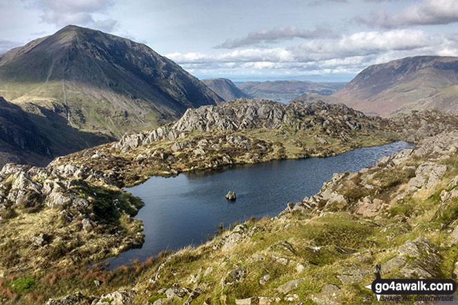 Seat (Buttermere) & High Crag (Buttermere) (left) and Grasmoor (right) from the small pool on Hay Stacks (Haystacks)