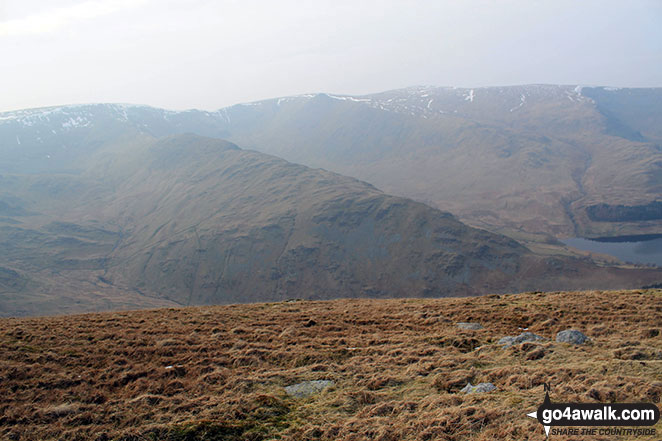 High Street (left), Kidsty Pike (centre), High Raise (Mardale) and Raven Howe on the horizon with Riggindale Crag in the mid-distance from Branstree (Artlecrag Pike)