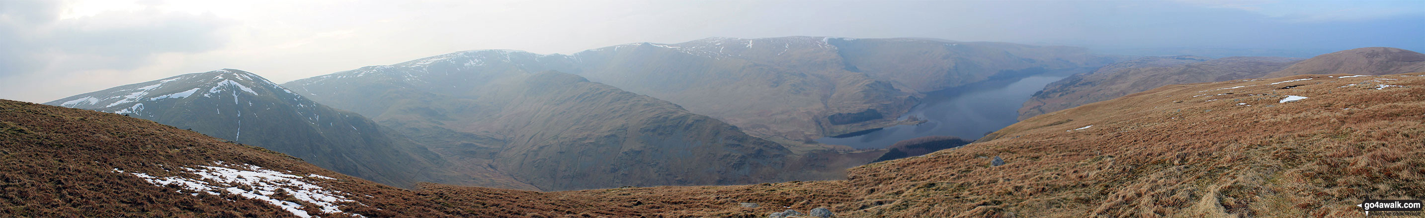 Harter Fell (Mardale) (left), High Street, Kidsty Pike, High Raise (Mardale), Haweswater Reservoir and Selside Pike (far right) from Branstree (Artlecrag Pike)