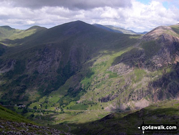 Llanberis from Snowdon (Yr Wyddfa). Walk route map gw105 Snowdon via The Watkin Path from Nantgwynant photo