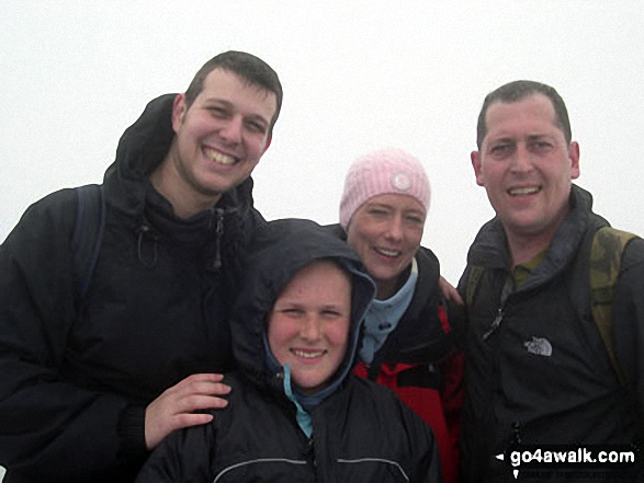 On Snowdon (Yr Wyddfa) summit. Walk route map gw140 Snowdon via The Rhyd Ddu Path photo