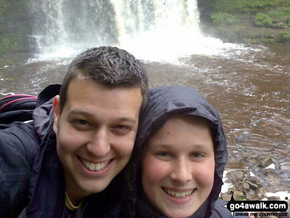 My mate Michael and my son (also called Michael) with Sgwd yr Elra Waterfall, Afon Mellte in the background