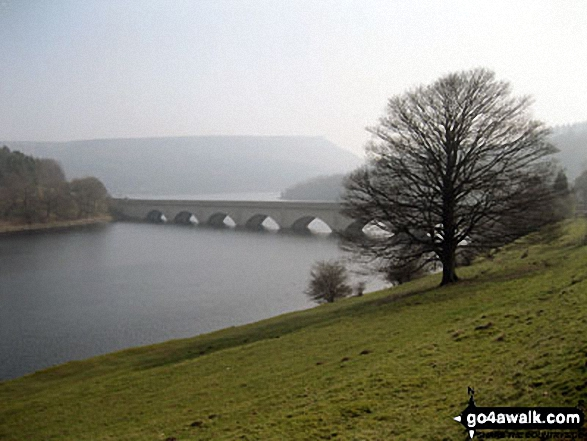 The road bridge (A57) across Ladybower Reservoir with Bamford Moor in the background from near Crookhill Farm on the lower slopes of Crook Hill (Ladybower)