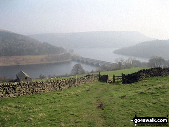 The road bridge (A57) across Ladybower Reservoir with Bamford Moor in the background from Crook Hill (Ladybower)