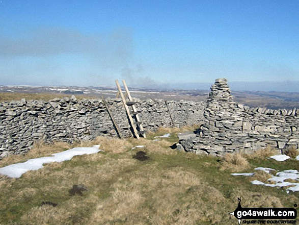 Cairn and Ladder Stile on Addlebrough