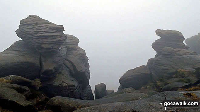 More rock formations on a misty Kinder Scout. Walk route map d186 Kinder Scout and Kinder Downfall from Bowden Bridge, Hayfield photo