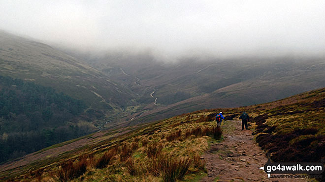 Descending back to Edale from a misty Kinder Scout