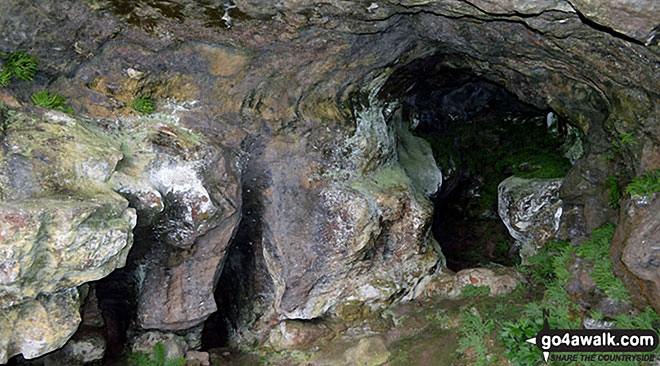 Inside another cave above Thor's Cave. Walk route map s238 Manifold Valley, Ilam, Dove Dale, Milldale, Alstonefield and Wetton from Weag's Bridge photo