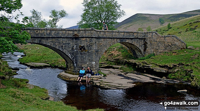The Packhorse Bridge over The River Derwent at the northern end of Howden Reservoir