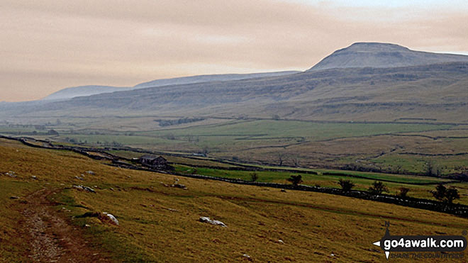 Ingleborough from Beezley Falls at the upper end of The Ingleton Waterfalls Trail