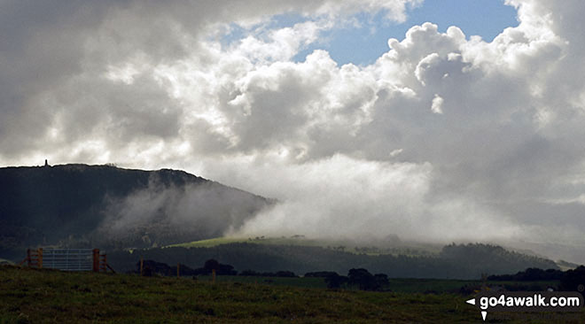 Captain Cook's Monument (far left) on Little Ayrton Moor during a cloud inversion near Roseberry Topping