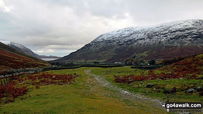 The shoulder of Lingmell and snow on Illgill Head (far left), Wasdale and Wast Water (left) and Yewbarrow (right) from Gable Beck Bridge. Walk route map c172 Scafell Pike via The Corridor Route from Wasdale Head, Wast Water photo