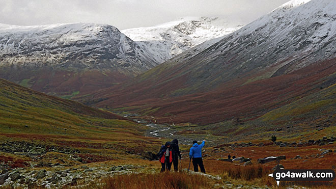 Snow on Yewbarrow (North Top) left, Red Pike (centre right) and the shoulder or Kirk Fell (right) tower above Wasdale from near Sty Head. Walk route map c454 Scafell Pike via The Corridor Route from Seathwaite photo