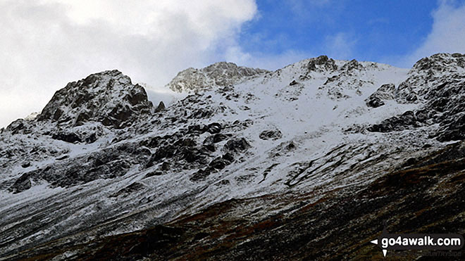 Looking up to a snowy Great Gable from Sty Head