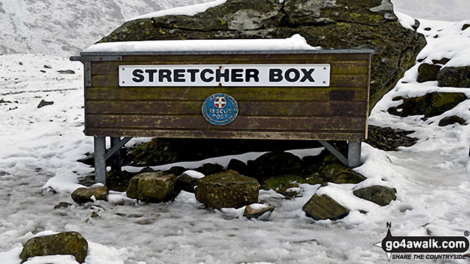 The Stretcher Box at Sty Head in the snow
