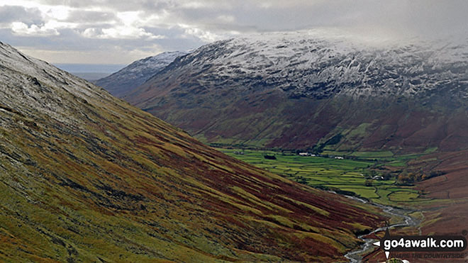 A dusting of snow on the shoulder of Lingmell (left), Middle Fell (centre left in the distance) and Yewbarrow above Wasdale from Sty Head. Walk route map c141 Great Gable and Pillar from Wasdale Head, Wast Water photo
