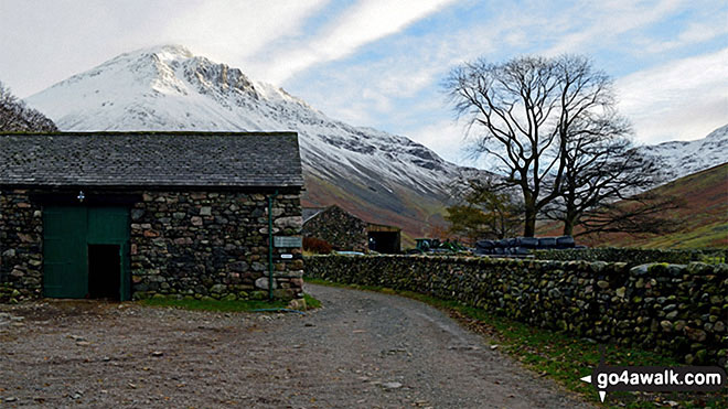 Great Gable from Burnthwaite Farm, Wasdale Head. Walk route map c111 Scafell Pike from Wasdale Head, Wast Water photo