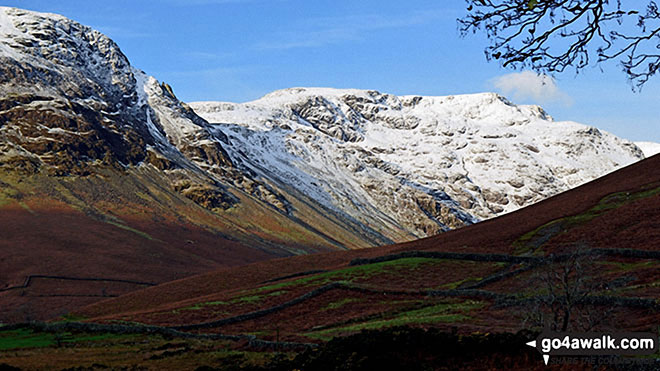 Walk c141 Great Gable and Pillar from Wasdale Head, Wast Water - Dore Head (left) and Pillar from Mosedale, Wasdale Head