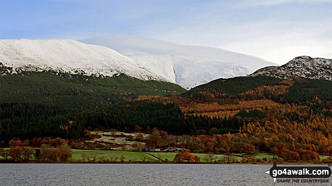 Snow on Carl Side (left), Skiddaw (centre) and Dodd (Skiddaw) across Bassenthwaite Lake from Woodend Brow