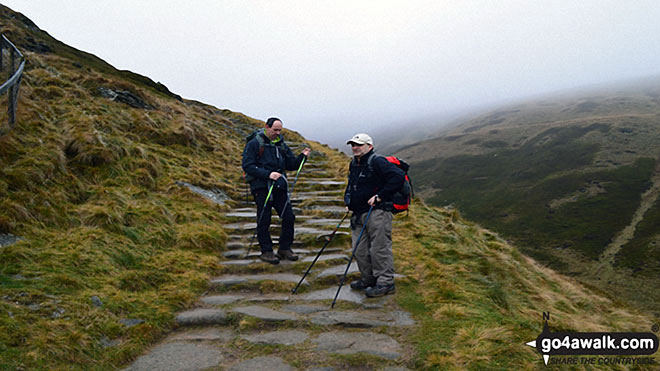 Climbing Jacob's Ladder. Walk route map d296 Jacob's Ladder and Kinder Scout from Edale photo