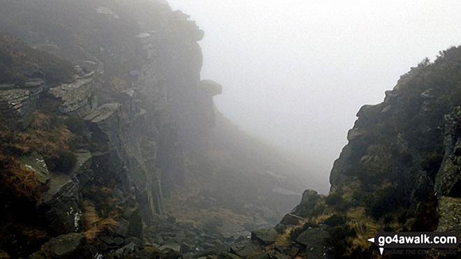 Into the abyss on a misty Kinder Scout