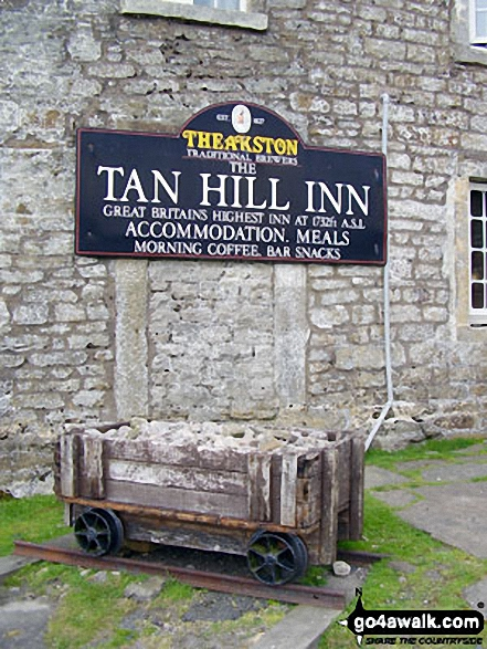 The Tan Hill Inn, Tan Hill. Walk route map ny145 Tan Hill and Robert's Seat from Keld photo