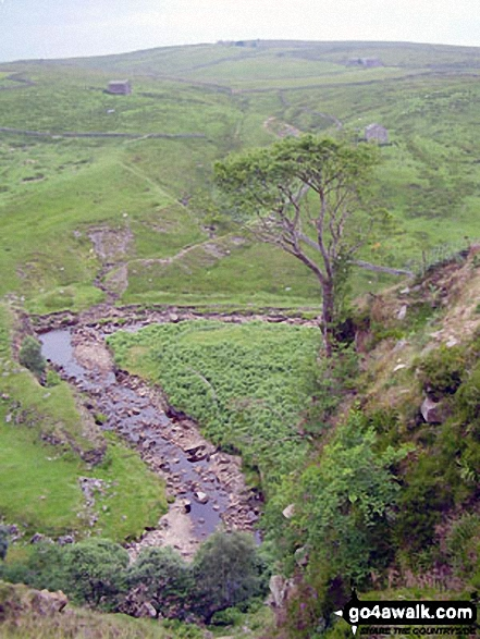 The River Swale at Keld. Walk route map ny145 Tan Hill and Robert's Seat from Keld photo
