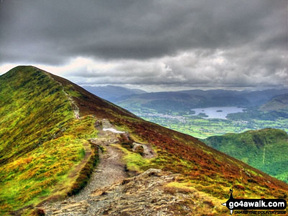 Carl Side (left), Long Side, Longside Edge, Derwent Water and Dodd (Skiddaw) from Ullock Pike