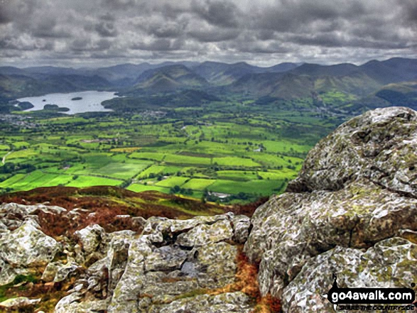 Derwent Water and The Newlands Fells from The White Stones on Carl Side. Walk route map c236 Skiddaw from Millbeck, nr Keswick photo